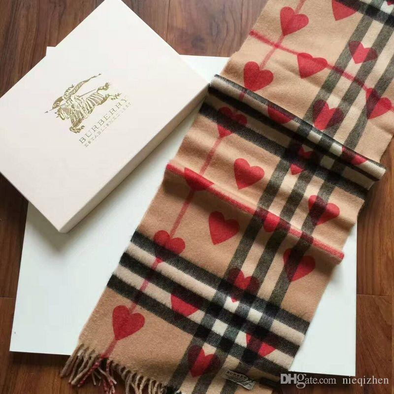6261aae8eb41 Zhu Top 100% Wool Winter Warm Love Cashmere Scarf Brand The Classic  Cashmere Scarf In Check And Hearts 180x30cm Cashmere Pashmina From  Nieqizhen, ...