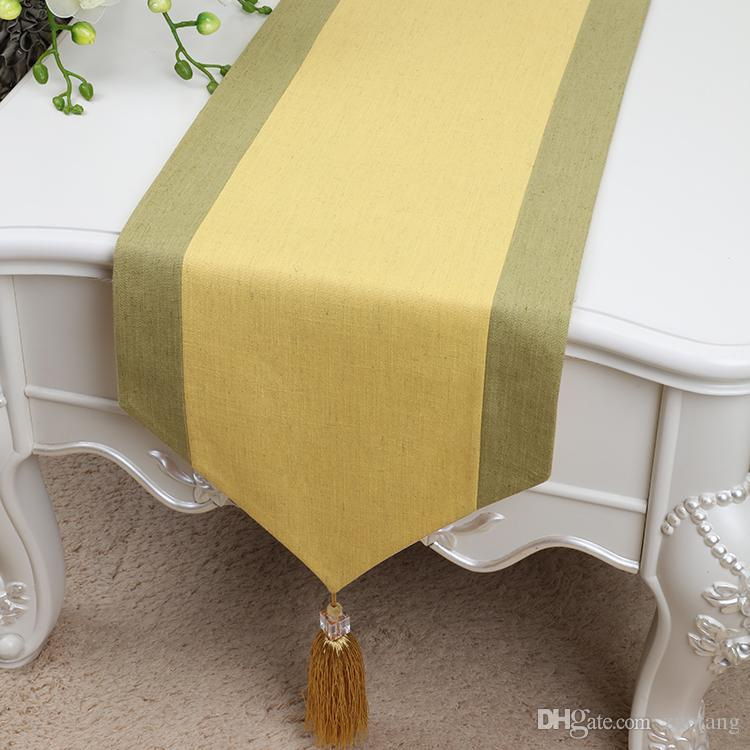 New Extra Long Patchwork Luxury Table Runner Cotton Linen Modern Tassel Tea Table Cloth Fashion Simple Dining Table Protection Pads 300x33