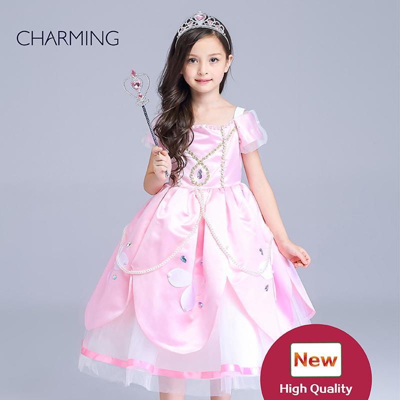 f6c2651588d4 Acquista I Capretti Portano Le Ragazze  Pink Star Princess Costume  Abbigliamento Bambini Shopping Online Ragazze Spettacolo Vestito Buoni Siti  Web ...