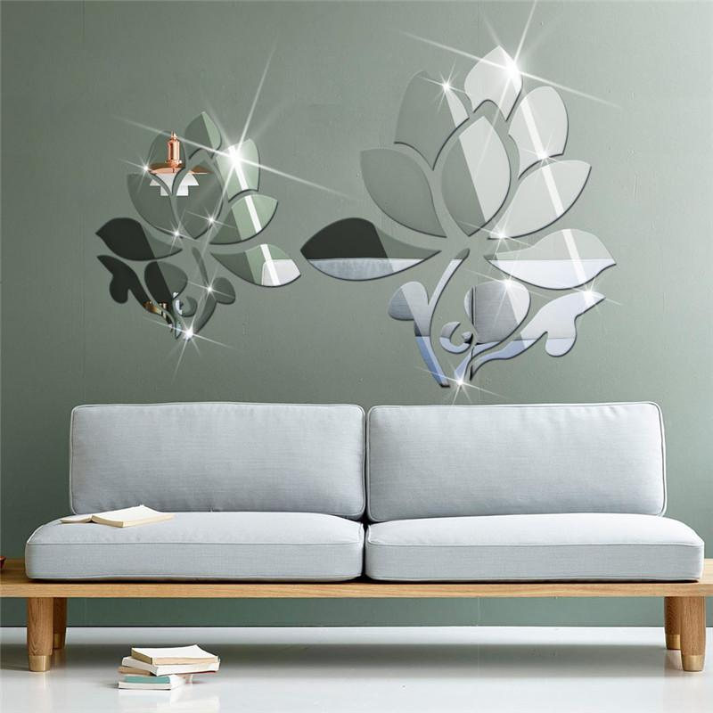 acrylic 3d diy mirror surface wall sticker of lotus flowers for