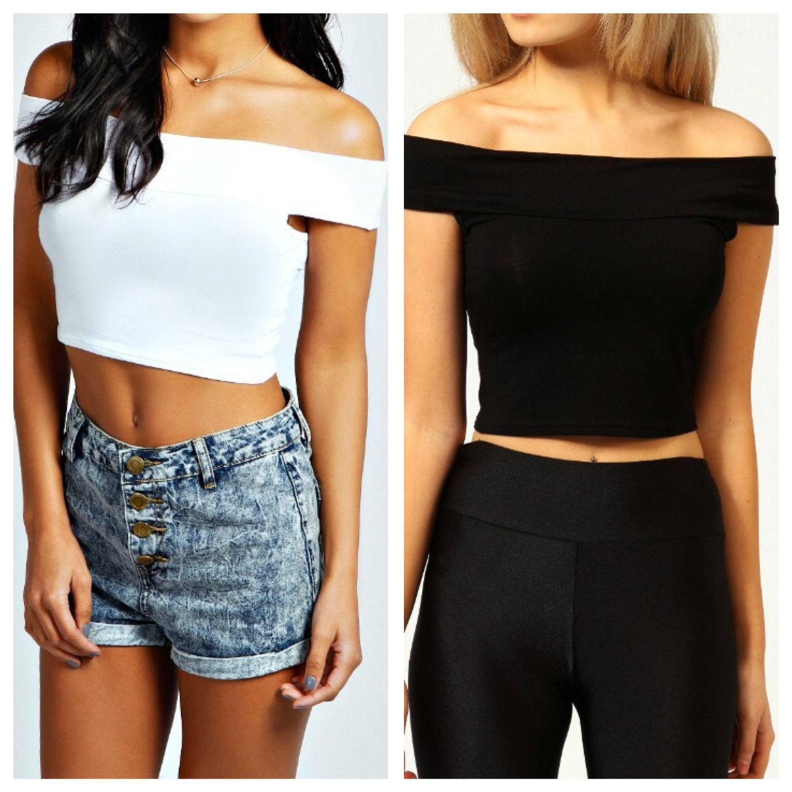 beac691dc Mode Femmes Dames Filles Hors Épaule Bardot Crop Top Été Casual T-Shirt  Tops T-shirts Vêtements Femmes Vêtements Stretch Court Dames T