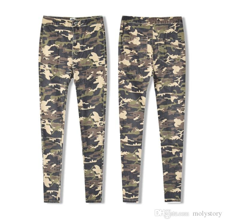 New Fashion Skinny Ripped Jeans Women High Waisted Camouflage Jeans Stretch Pencil Jean Slim Femme Denim Camo Pants