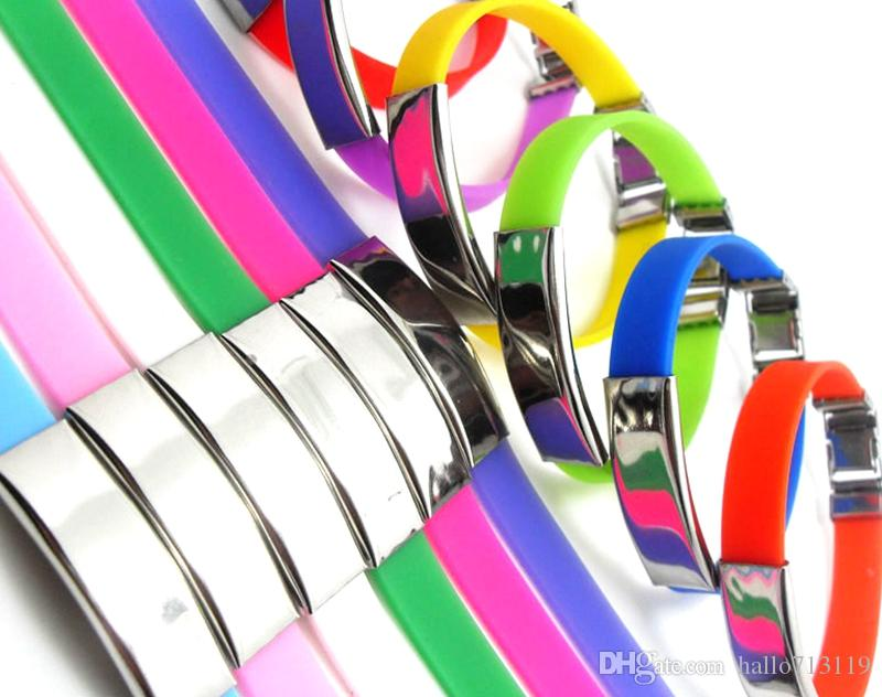 Colorido CRUZ de aço inoxidável pulseiras de Silicone Homens Mulheres Moda Pulseiras 12 Cor Top Mix Bangle atacado moda jóias muito
