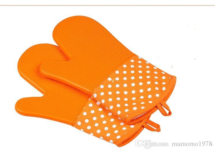 미끄럼 방지 내열성 보호 장갑 실리콘 BBQ 조리 주방 오븐 단일 장갑 주방 도구 오븐 Mitts LB 205