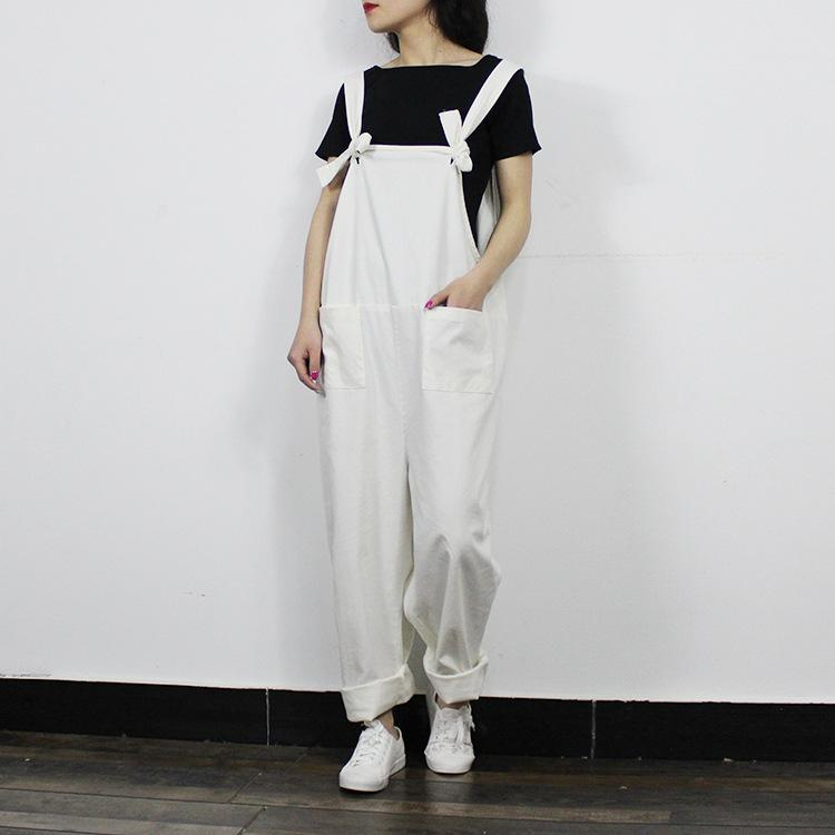 0f6dde11de41f 2019 Wholesale Women Casual Loose Jumpsuits Plus Size Overalls Literary  Ladies Strap Pants Preppy Style Mori Girl Cotton Linen Trousers 2016 From  Keviny