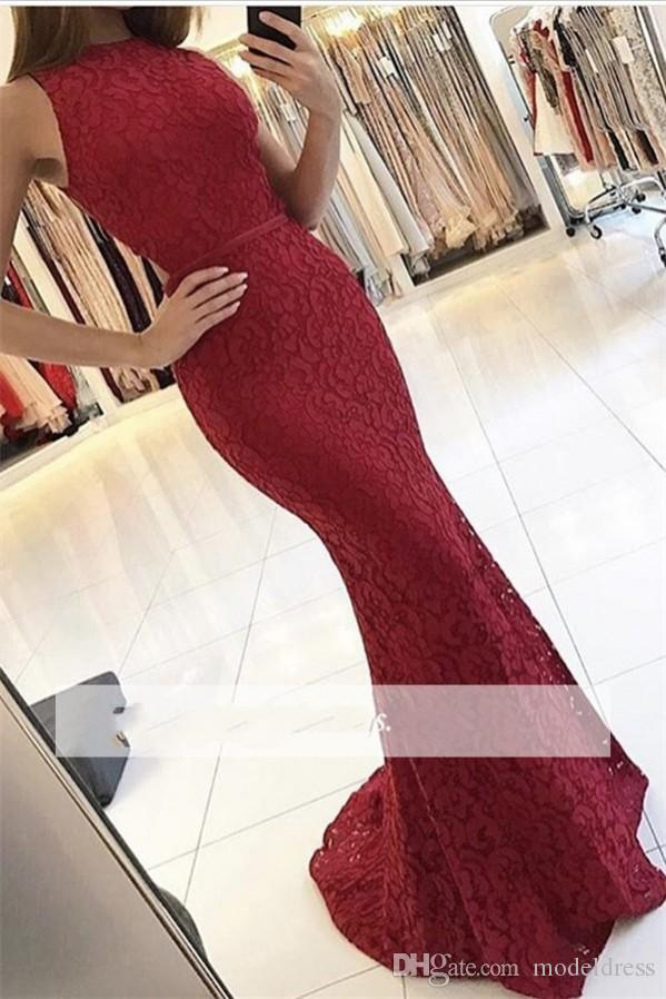 Dark Red Lace Mermaid Prom Dresses 2017 Jewel Open Waist Floor Length Modest Evening Party Girls Pageant Gowns Custom Made Cheap