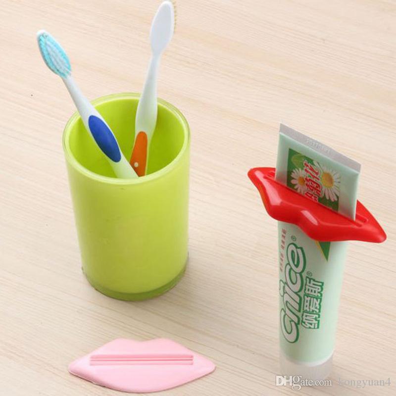 섹시한 뜨거운 립 키스 욕실 쉬운 보도 튜브 분배기 치약 크림 짜기 홈 튜브 롤링 홀더 압착기