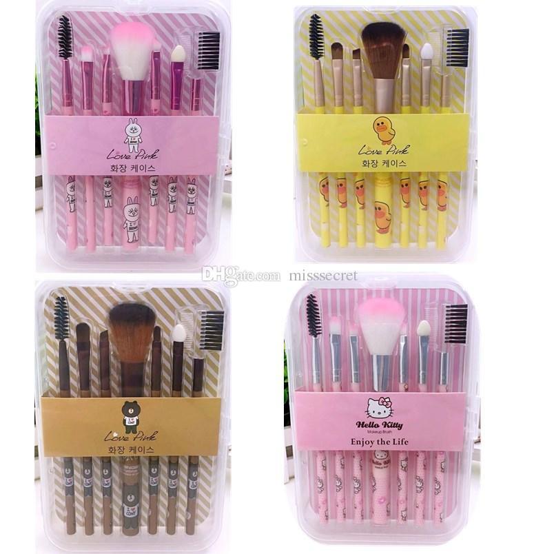 5e104fc98784 Olá Kitty Pincéis de Maquiagem Set 7 PCS Bonito Dos Desenhos Animados  Conjunto de Pincel de Maquiagem Pato Amarelo Make up Brush Kit de  Ferramentas Com ...