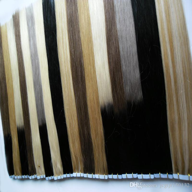 Tape in extensions human hair 100g jet black brazilian straight hair Remy Skin Weft tape in human hair extensions