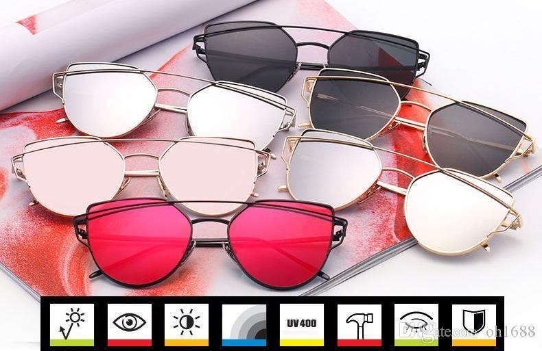2020 Zukunft Mode Farbe Flat Top Qualität Katzenaugen-Sonnenbrille Frauen oculos de sol Männer Twin Beam Sonnenbrille Legierung Rahmen UV400