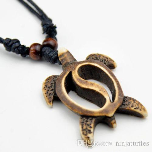 Wholesale Imitation Yak Bone Carved Hawaiian Honu Turtles Pendant Surfing necklace Handmade Wood Bead Amulet Gift MN458