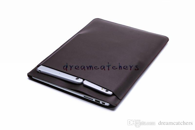 Luxuxretina-Hülsen-Fall doppelstöckige Beutel-Tasche Macbook-Laptop-Beutel PU-Leder-Schutzabdeckung für Apple MacBook Air 11 13 12 Zoll