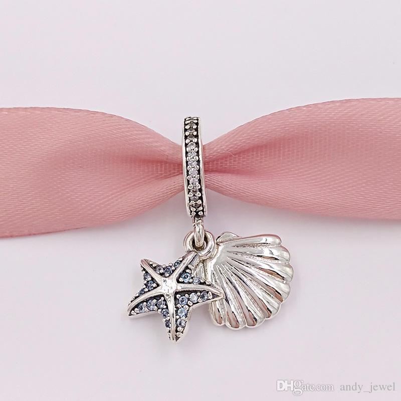 Perles en argent 925 étoiles de mer tropical pendentif en coquille de mer charme breloques s'adapte aux bijoux de Style Pandora européen Bracelets Collier