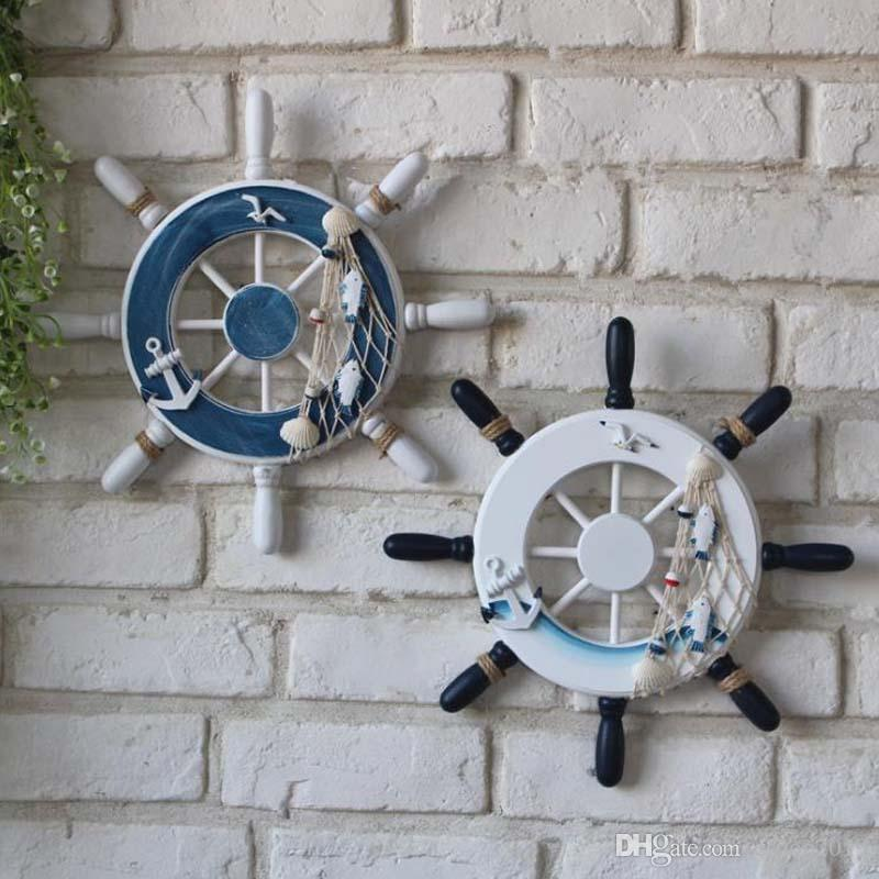 9 Inch Beach Wooden Boat Ship Rudder Fishing Net Shells Home Decor Blue White Wall Nautical Decorations Homes Decoration From Eshop2019