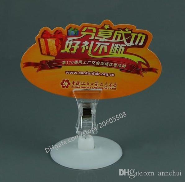 Wholesale 4CM Disc base POP Plastic Sign clamp Card Display Price Label pop Promotion Clips Holder for Retail Shop