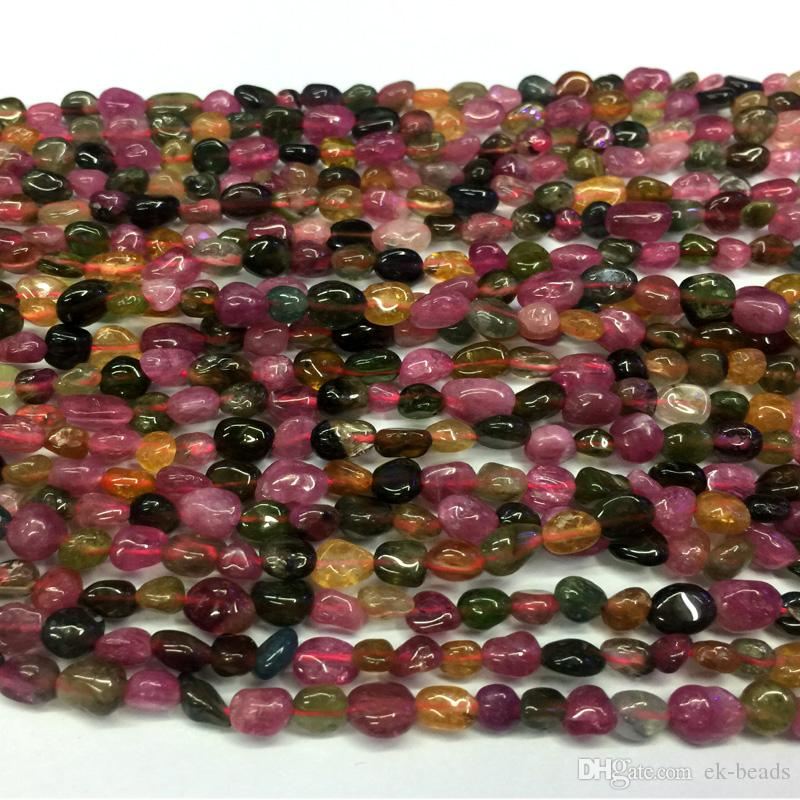 "Natural Genuine Pink Green Orange Mix Multi-Color Tourmaline Nugget Free Form Fillet Irregular Pebble Beads Fit Jewelry 15"" 04325-T"