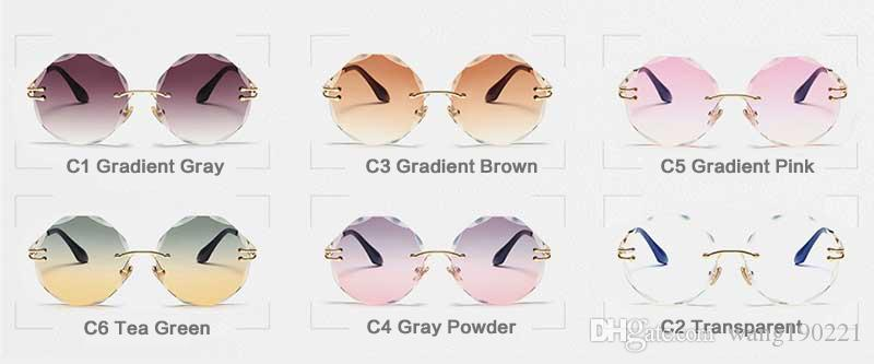 The newest fashion round no frame colorful retro lady sunglasses famous female brand design mirror lens UV400 RA153