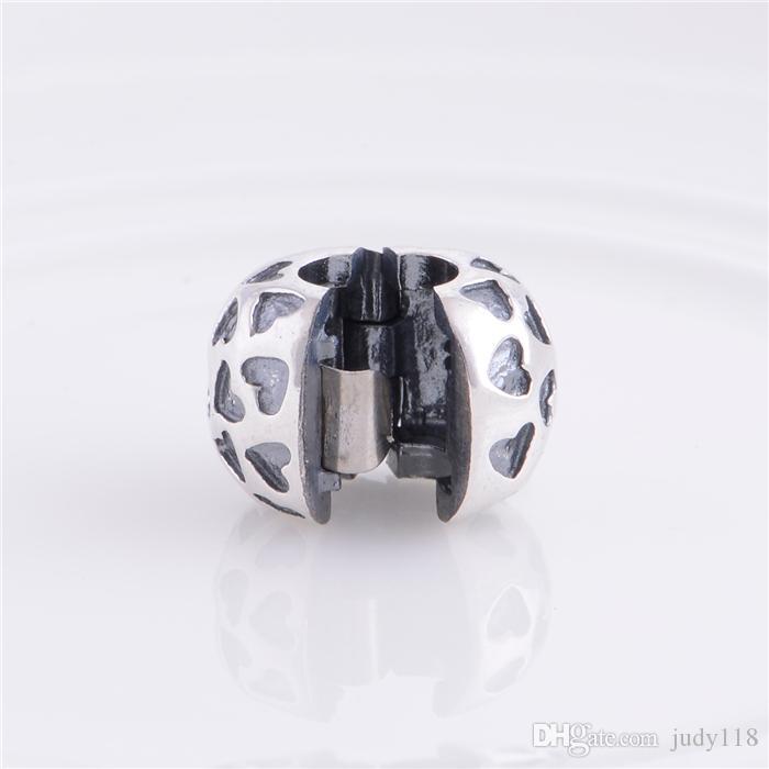 Memnon Jewery Love Hearts Lock Clip Core Stopper Charms Beads 925 sterling Silver fine jewelry fit European Style Bracelets DIY Making KT006