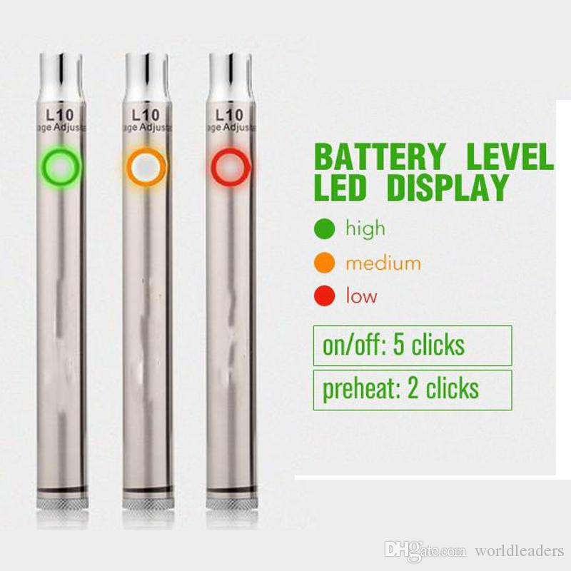 preheat electronic cigarette battery L10 smoking variable voltage thick oil vaporizer pen battery 400mah in black and SS VS mix2 battery