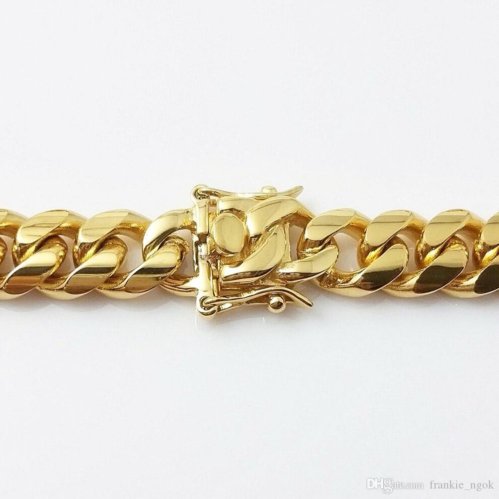 Joyería de acero inoxidable Chapado en oro de 18 kt. Pulido alto Collar de eslabones cubanos de Miami Hombres Punk 14 mm Encintado Cadena Dragón-Barba Broche 24