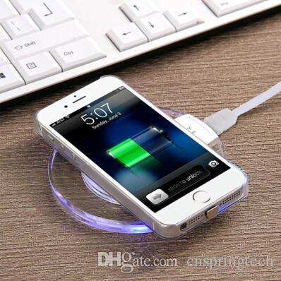Entrega rápida Qi carregador de telefone sem fio portátil fantasia cristal universal LED iluminação tablet carregamento para samsung galaxy S6 S7 borda