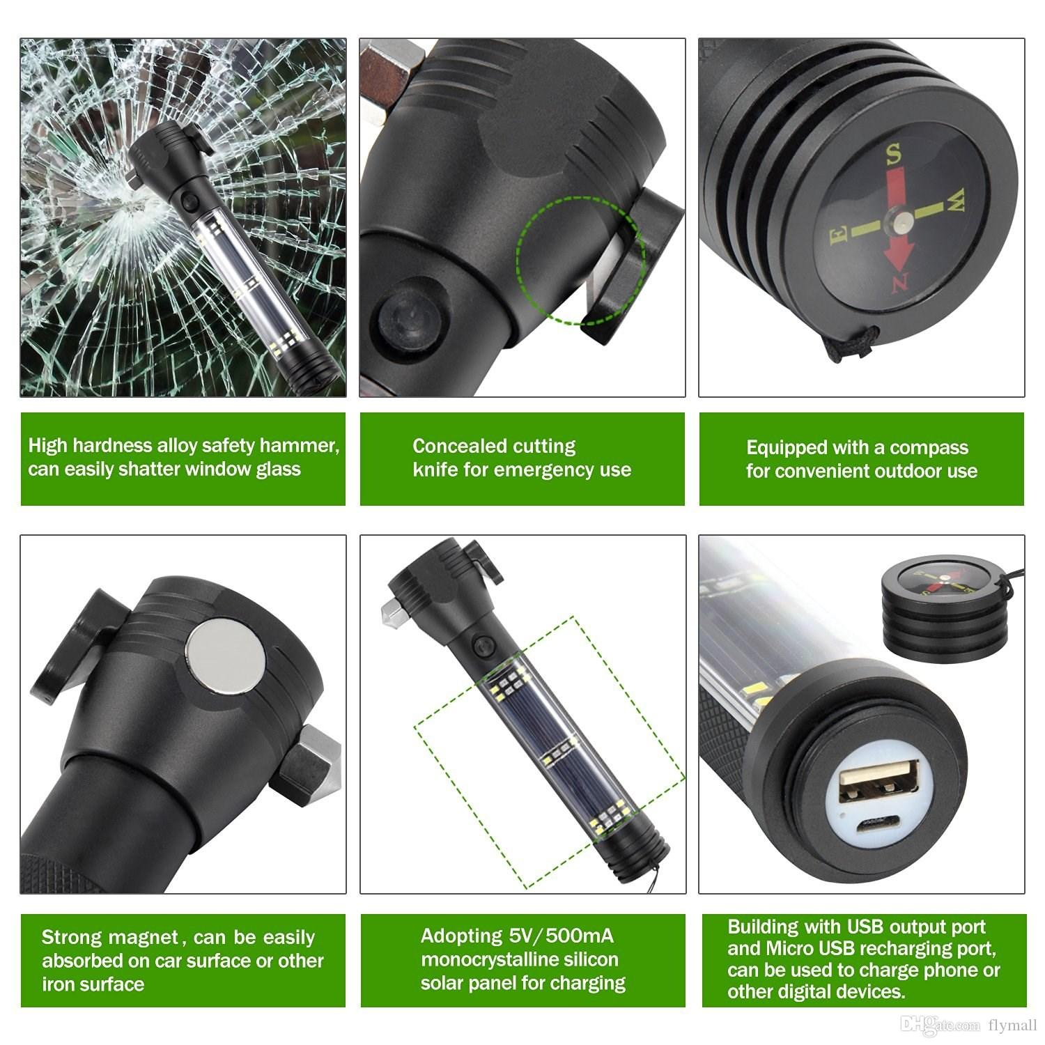 Multifunction Solar LED Flashlight USB Rechargeable Portable Torch Light Bright Light with Safety Hammer Compass Magnet Power Bank Functions