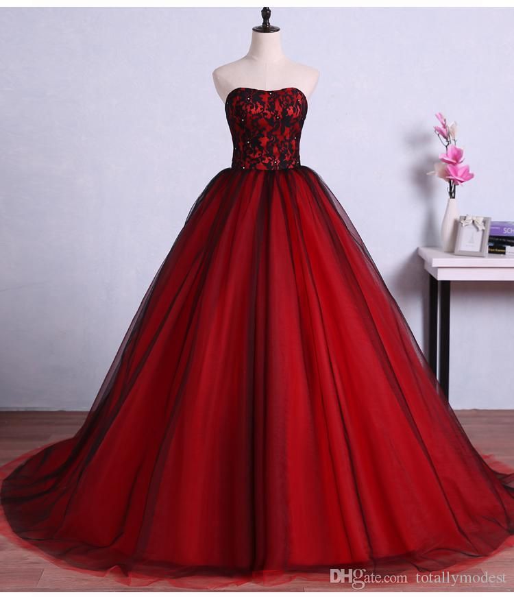 Popular Plus Size Gothic Wedding Gowns Buy Cheap Plus Size: Vintage Red Black Gothic Wedding Dresses 2017 Sweetheart