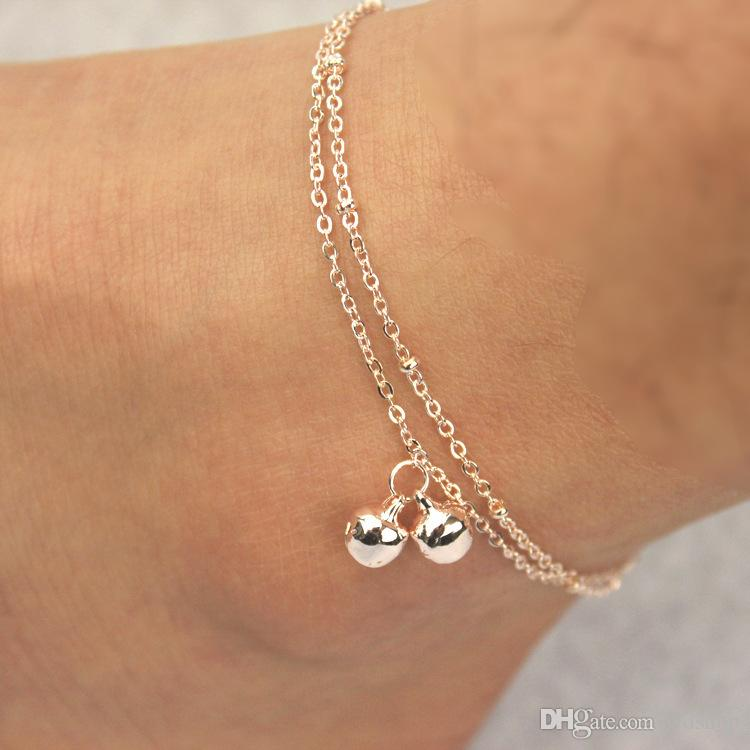 Fashion 2 Layers Bell Anklets Jewelry Rose Gold Titanium Steel Ankle Bracelet Foot Chains For Summer Beach Sandals Barefoot