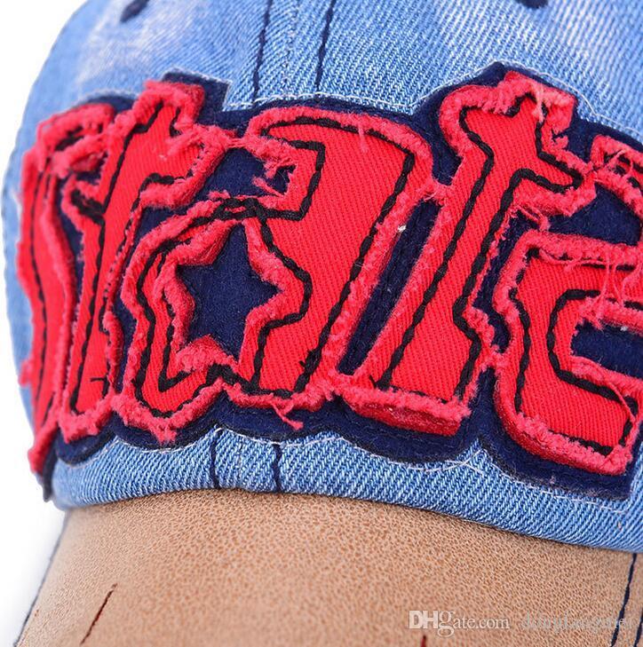 Ücretsiz kargo Yeni erkekler ve kadınlar kovboy beyzbol şapkası YILDIZ mektup mektup şapka bahar ve yaz kenarlı eski şapka DMB070