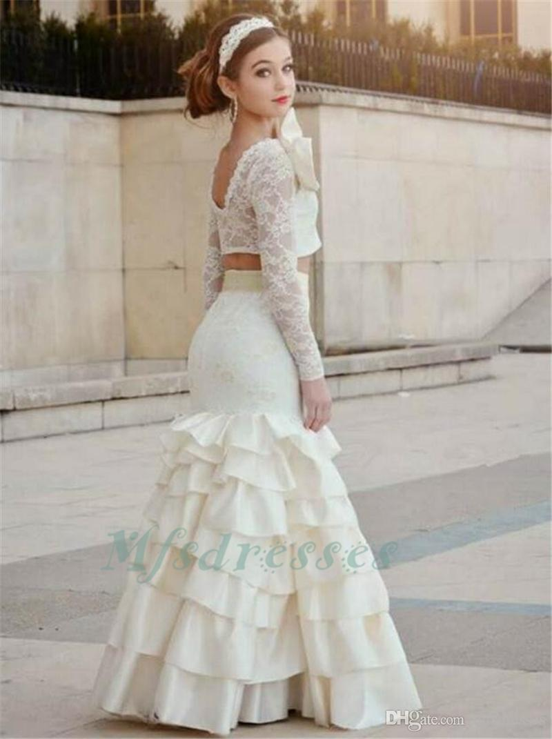 2017 Two Piece Mermaid Girls Prom Dresses Lace Appliques Long Sleeves Tiered Kids Junior Evening Dress Saudi Arabia Sexy Girls Pageant Dress