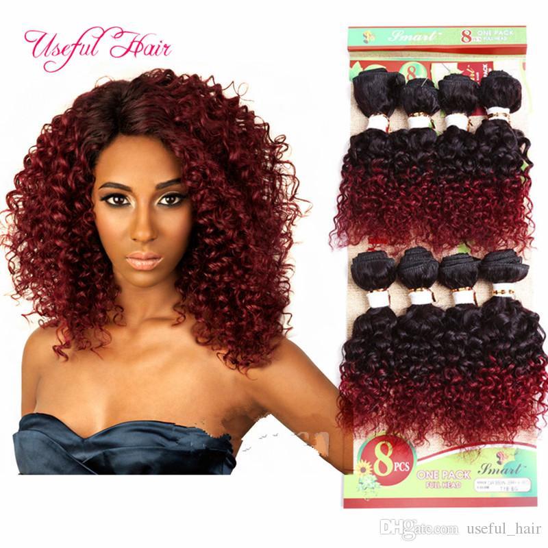 Toptan ombre kahverengi insan saç uzantıları hata 8 inç bordo renk örgü 8 demetleri gevşek dalga derin kıvırcık Brezilyalı insan örgü saç