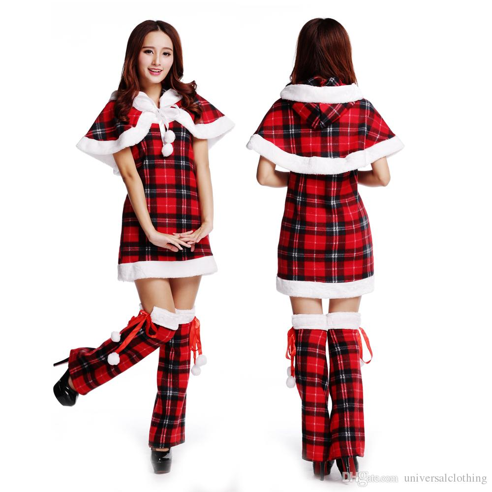scottish lattice tight suit dress a shawl with a hat leg sleeve personalized christmas gift temptation themed party costumes group halloween costumes
