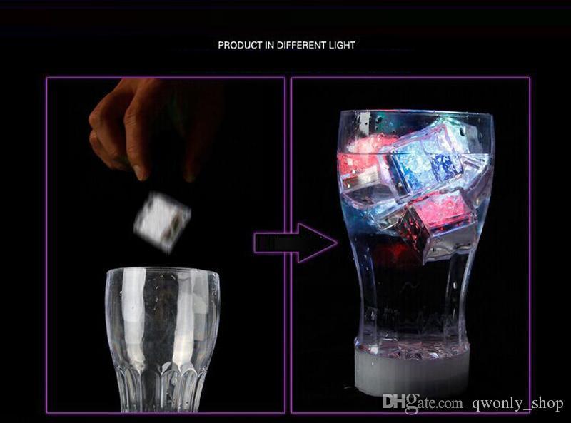 Aoto colors Mini Romantic Luminous Cube LED Artificial Ice Cube Flash LED Light Wedding Christmas Decoration Party