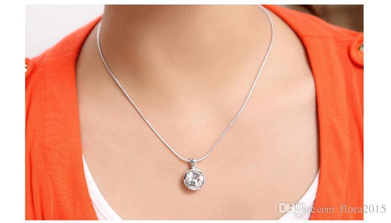 New Fashion White Balle Crystal From Swarovski Fashion Circle Pendant Necklace Stud Earrings Women Wedding Jewelry Sets
