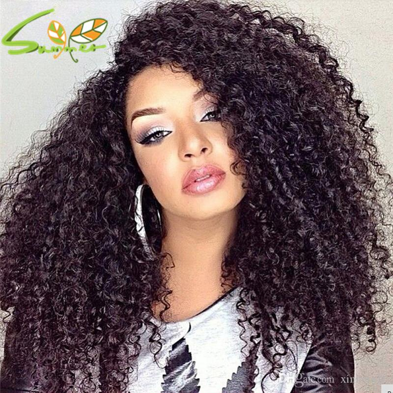 2017 New Fashion Lace Front Wig Virgin Brazilian Afro Kinky Curly Full Lace Wig Human Hair Lace Front Wigs