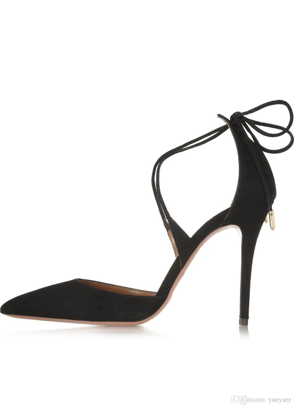 Zandina дамы мода ручной работы высокого 100мм каблук зашнуровать Crossstraps заостренной стороной носком сандалии обувь черный замша