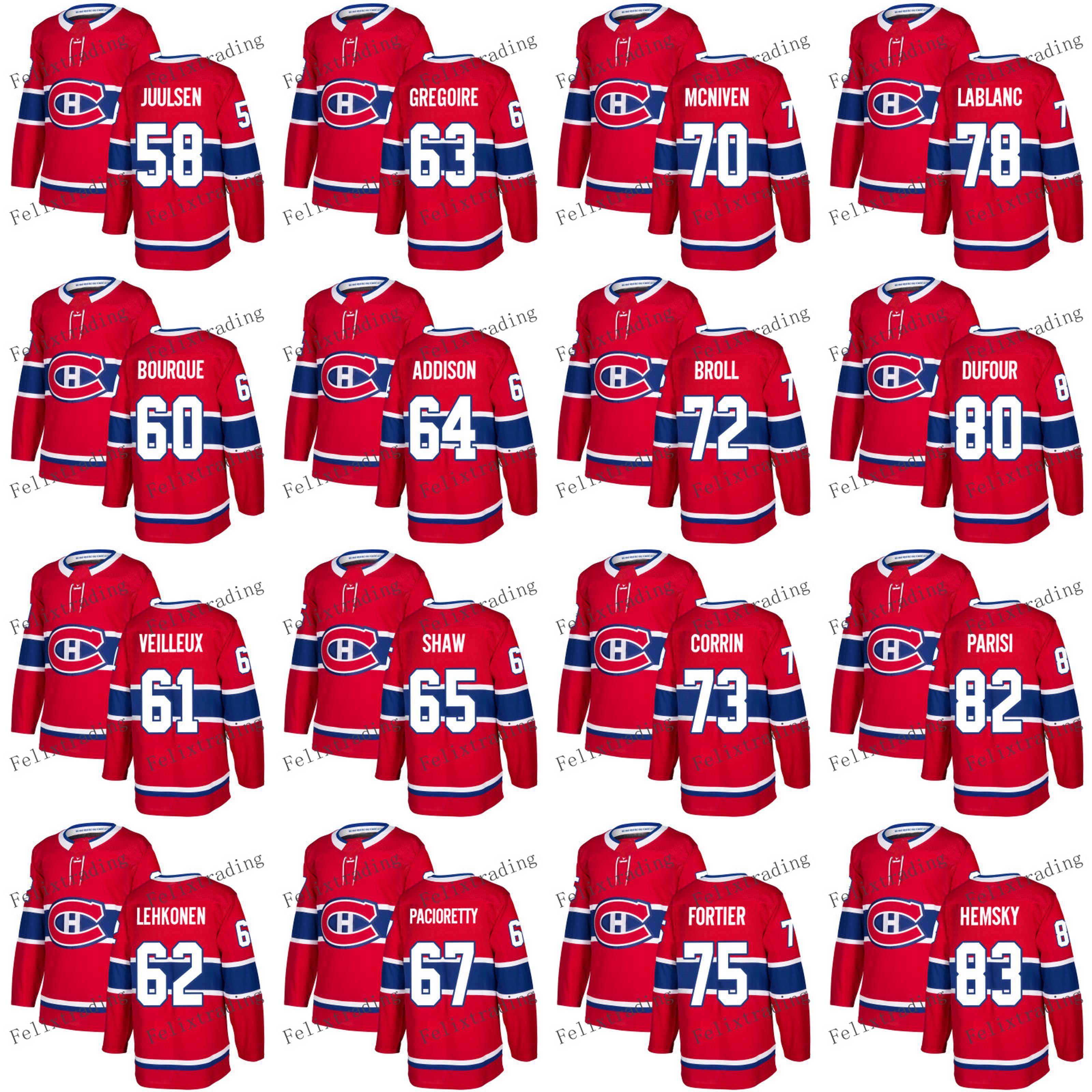 2019 2017 2018 Season 58 Noah Juulsen David Broll Tom Parisi Ales Hemsky  Willie Corrin 84 Martin Reway Andrew Shaw Montreal Canadiens Jerseys From  ... bb6f0f9e24