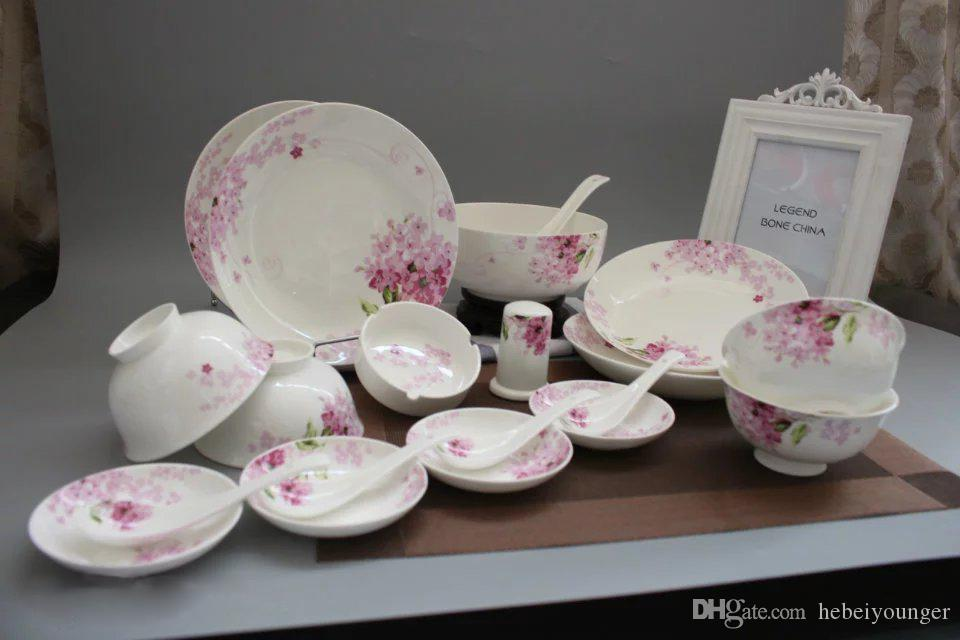 fine bone china porcelain lilac dinnerware set floral 20 pieces korean gift family dessert elegant