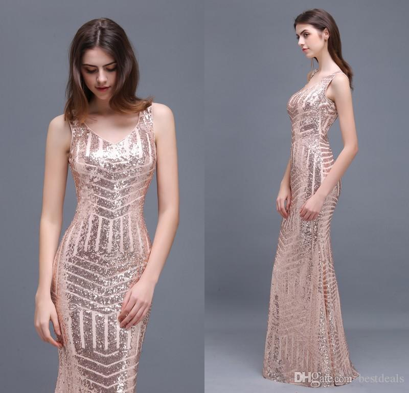 2018 Special Design Rose Gold Sequins Evening Dresses V Neck Floor ...