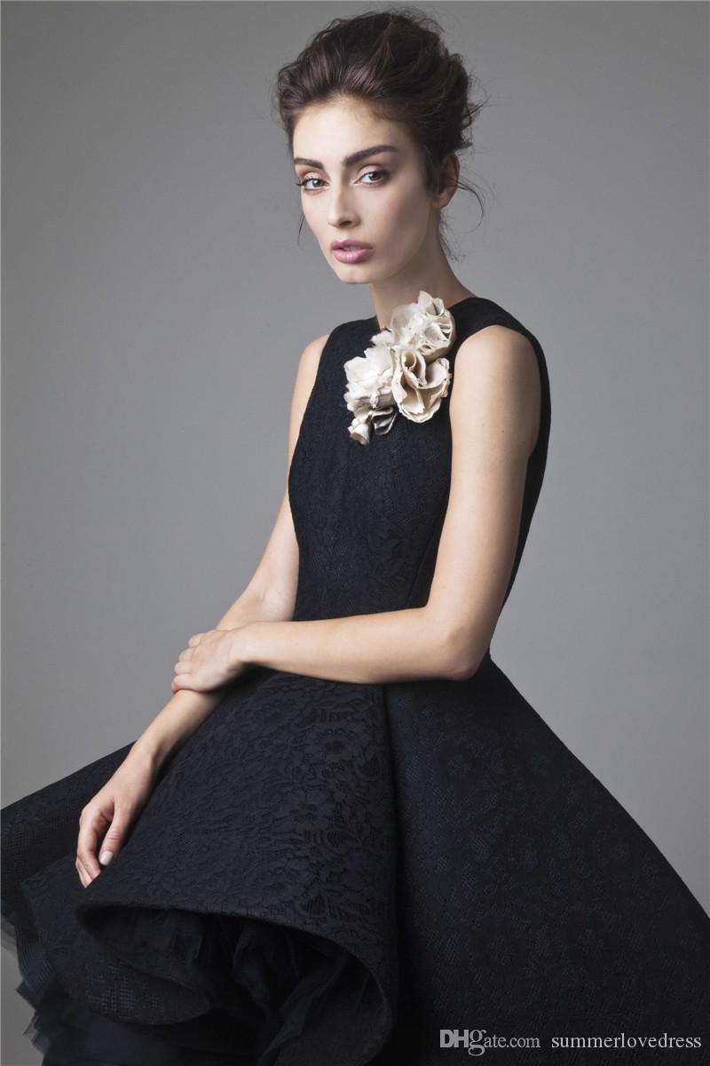 2017 neue Sexy Black Lace High Low Abendkleider Sleeveless Floral Tüll Rüschen Eine Linie Formale Partei Prom Kleider