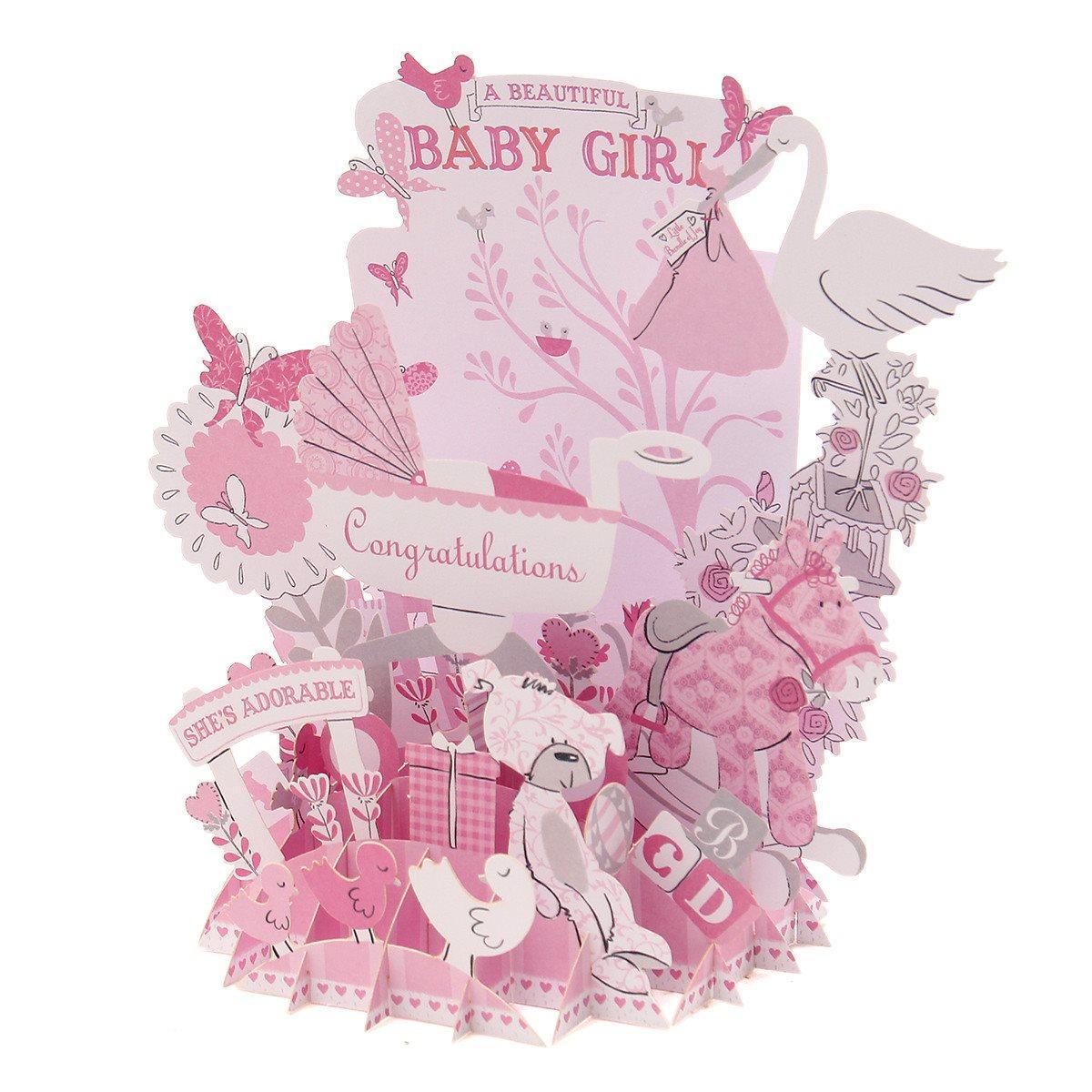 Wholesale Paper Pop Up Greeting Card Baby Girl Birthday Wedding