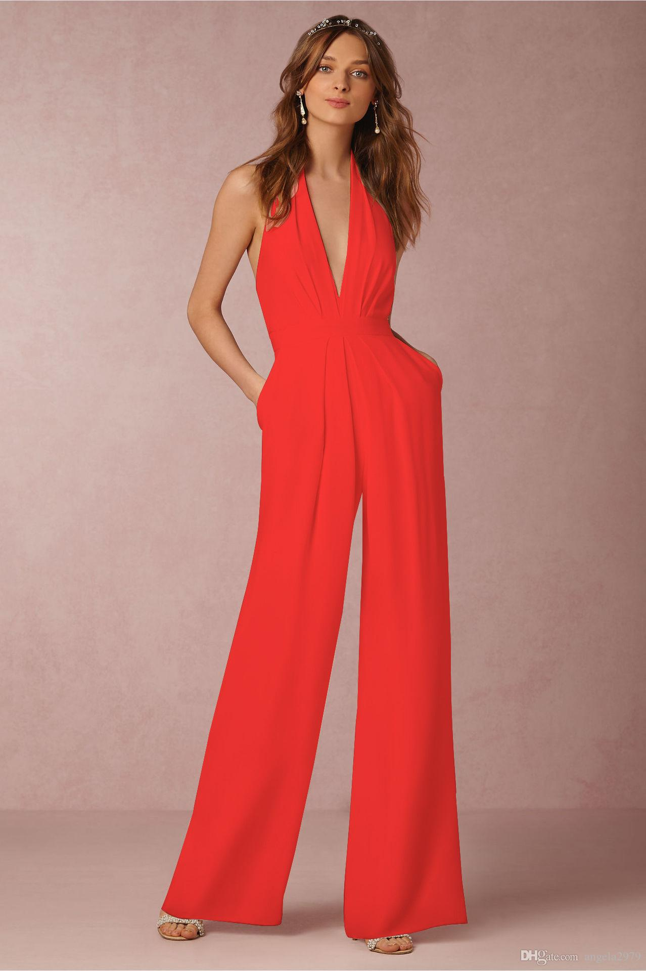 0542f55b68ce 2019 2017 Summer Loose Women Sleeveless Jumpsuits Sexy V Neck Backless  Halter Romper Bodycon Lady White Red Blue Jumpsuits Long Pant Jumpsuit 207  From ...