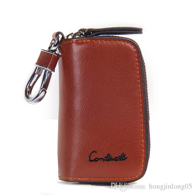 dd8b1b2ff71 Classic New Double Zip Men's Genuine Cow Leather Car Key Holder  Multifunction Housekeeper High Class Motor Key Case 1005E