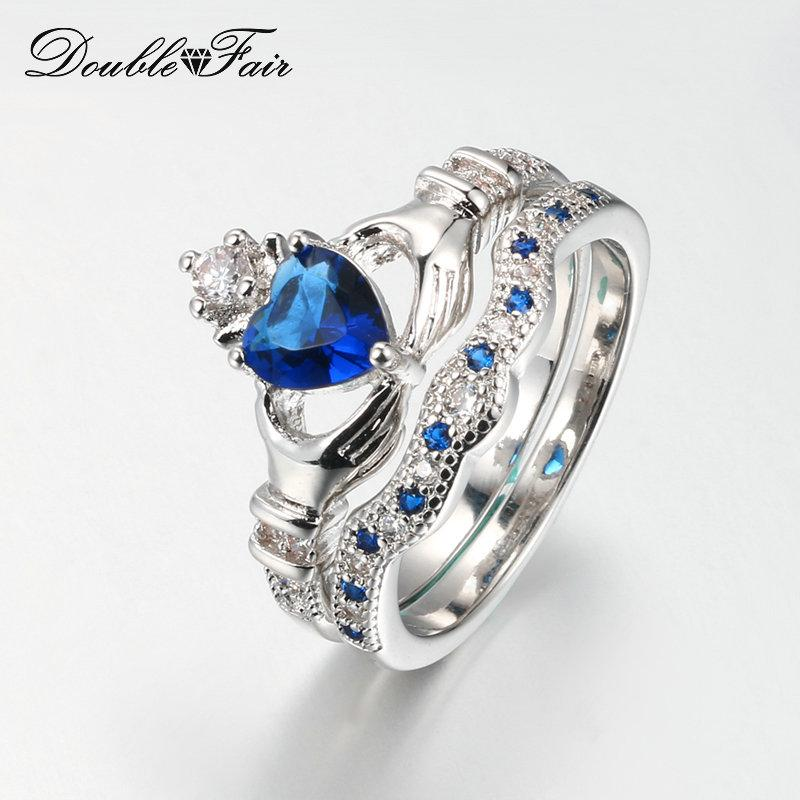 2018 Hand With Heart Wedding Ring Sets Blue Crystal Crown Ring Sets Silver  Color Cz Diamond Fashion Rings Jewelry For Women Wedding Dfr616 From  Double_fair, ...