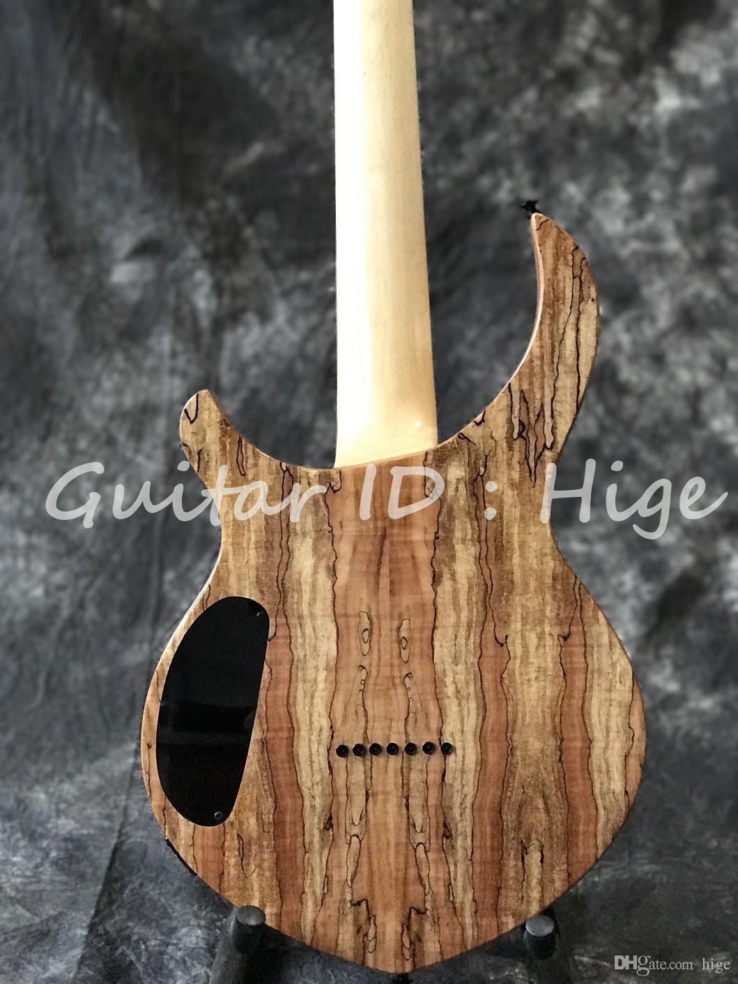 Chitarra elettrica su ordinazione di alta qualità di nuovo arrivo 7 corde, colore naturale, cima dell'acero spalted, foto reale che mostra guitarra