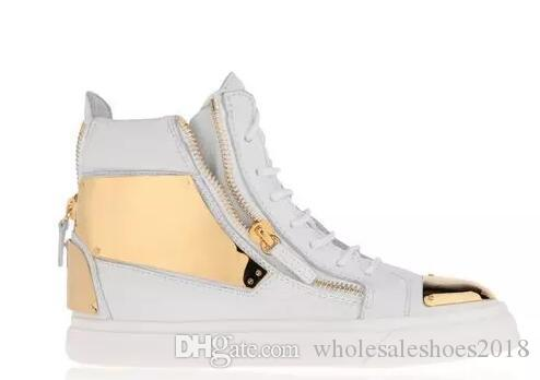 ac6379d9de2a6 2017 Luxury Men Casual Shoes Mens Trainers Brand New Women Sneakers With  Metal Decoration Rivet Patent Leather Double Zipper High Top Shoes Nude  Shoes ...