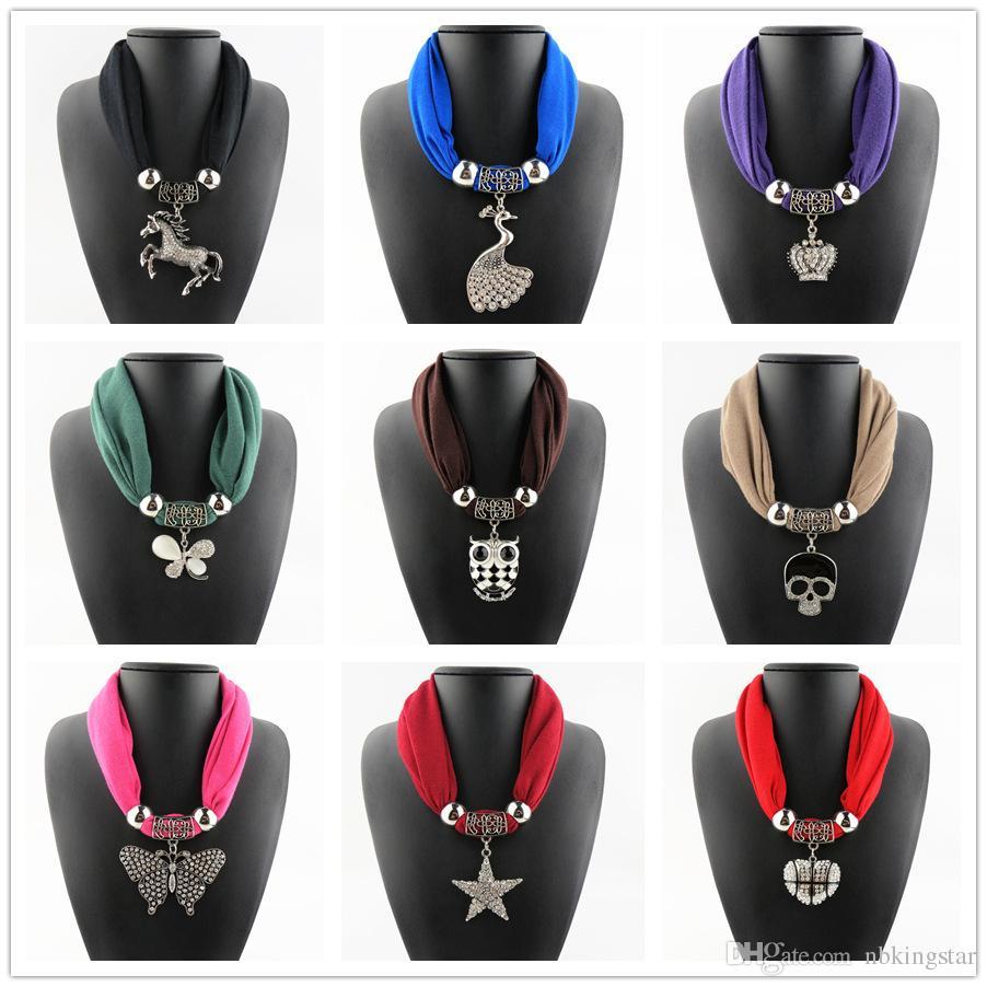 Горный хрусталь лошадь кулон кольцо ожерелье шарфы ювелирные изделия сплава бусины кисточкой кулон шарф шали для женщин 6 шт. / лот