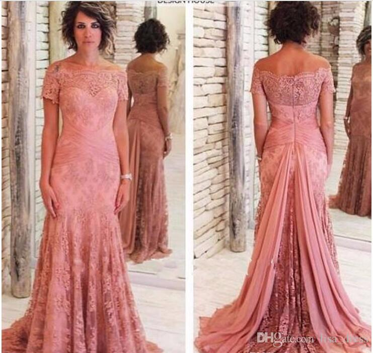 104a9ba85465 Modest Designer Mother Of The Bride Dresses For Weddings Short Sleeve Boat  Neck Mother Of Groom Dresses Plus Size Cheap Evening Gown Custom Mother Of  ...