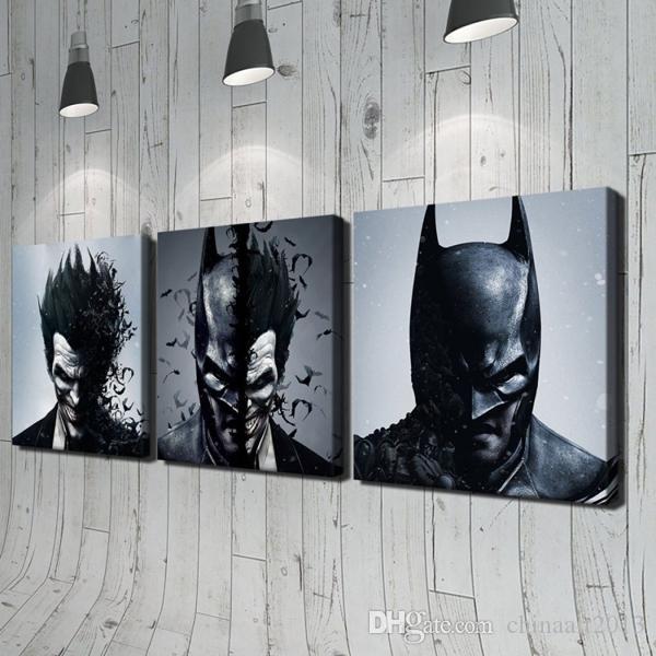 Batman Joker 3 Pièces Moderne Abstrait Figures Photos HD Imprimé Peinture à L'huile sur Toile Mode Maison Mur Art Décoration