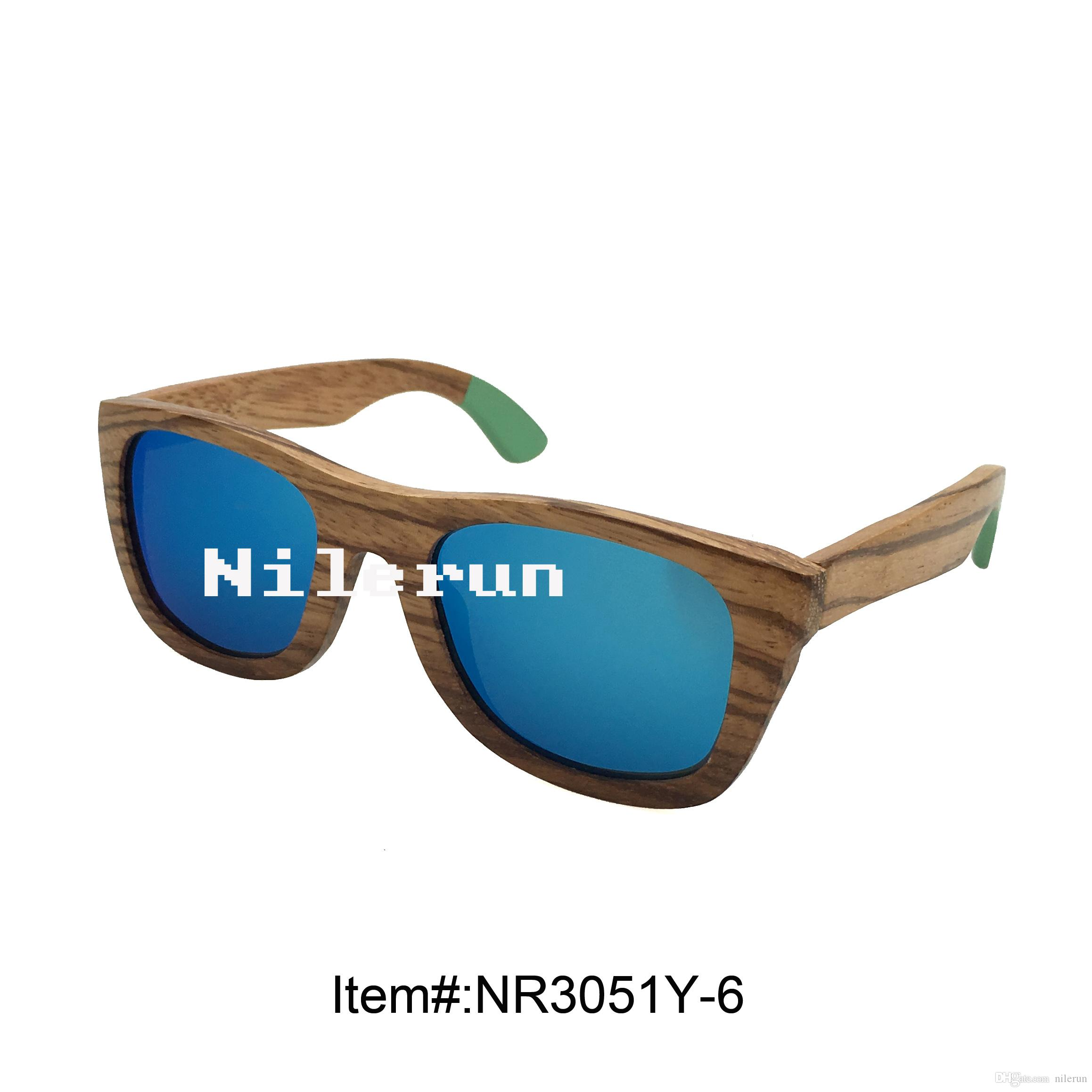8e20266e10 Fashion Blue Polarized Mirror Lens Zebra Wood Sunglasses with Green ...